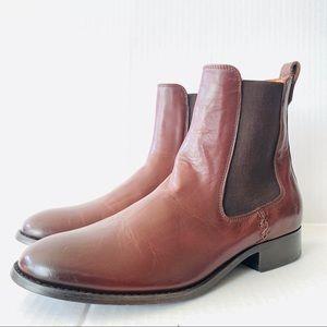 Frye Leather Melissa Short Chelsea Cognac Boots